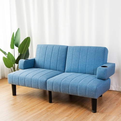 blue futon sofa bed