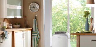 portable air conditioner in kitchen