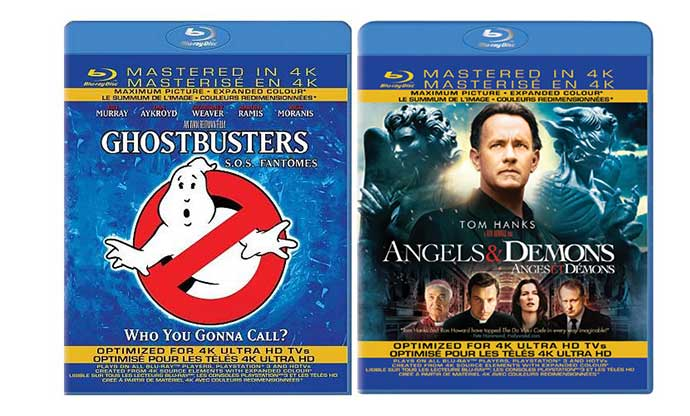 "Blu Ray Disk Movie Cover for ""Ghostbusters"" and ""Angels & Demons"""