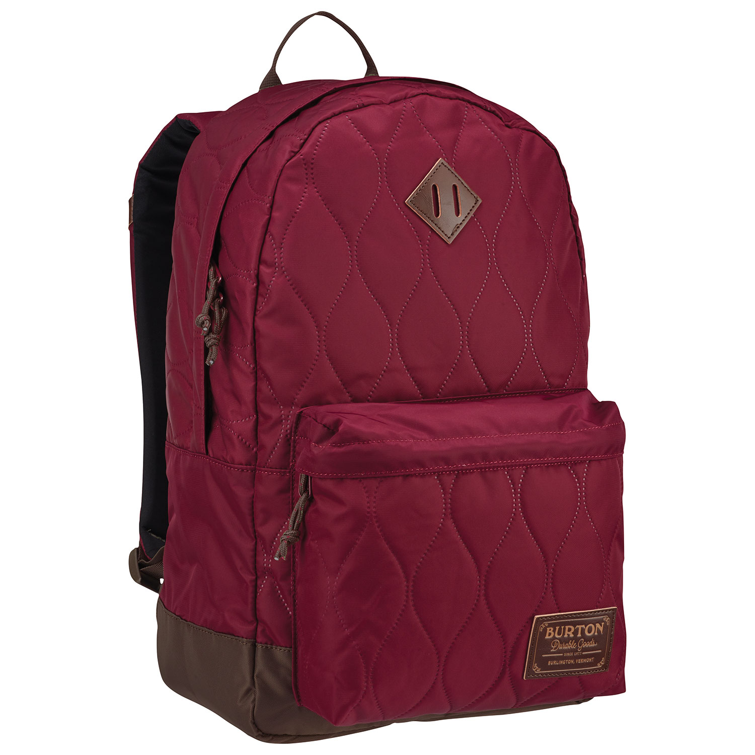 ace93ced60ce This burgundy 20L backpack has a quilted exterior