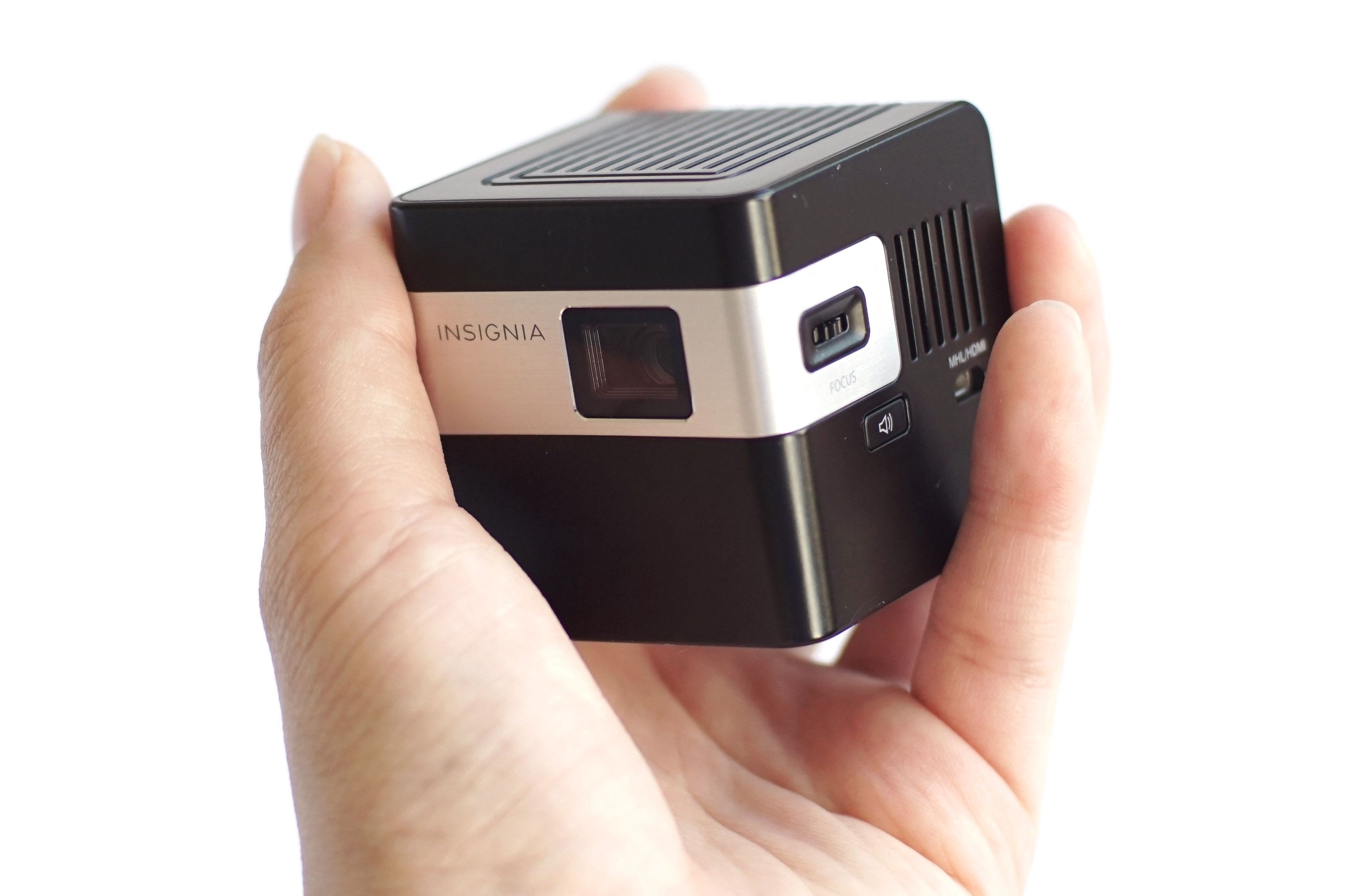 Insignia pocket projector review best buy blog for Portable pocket projector reviews