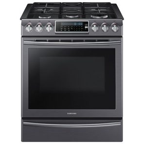 black stainless steel range