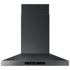black stainless steel range hood