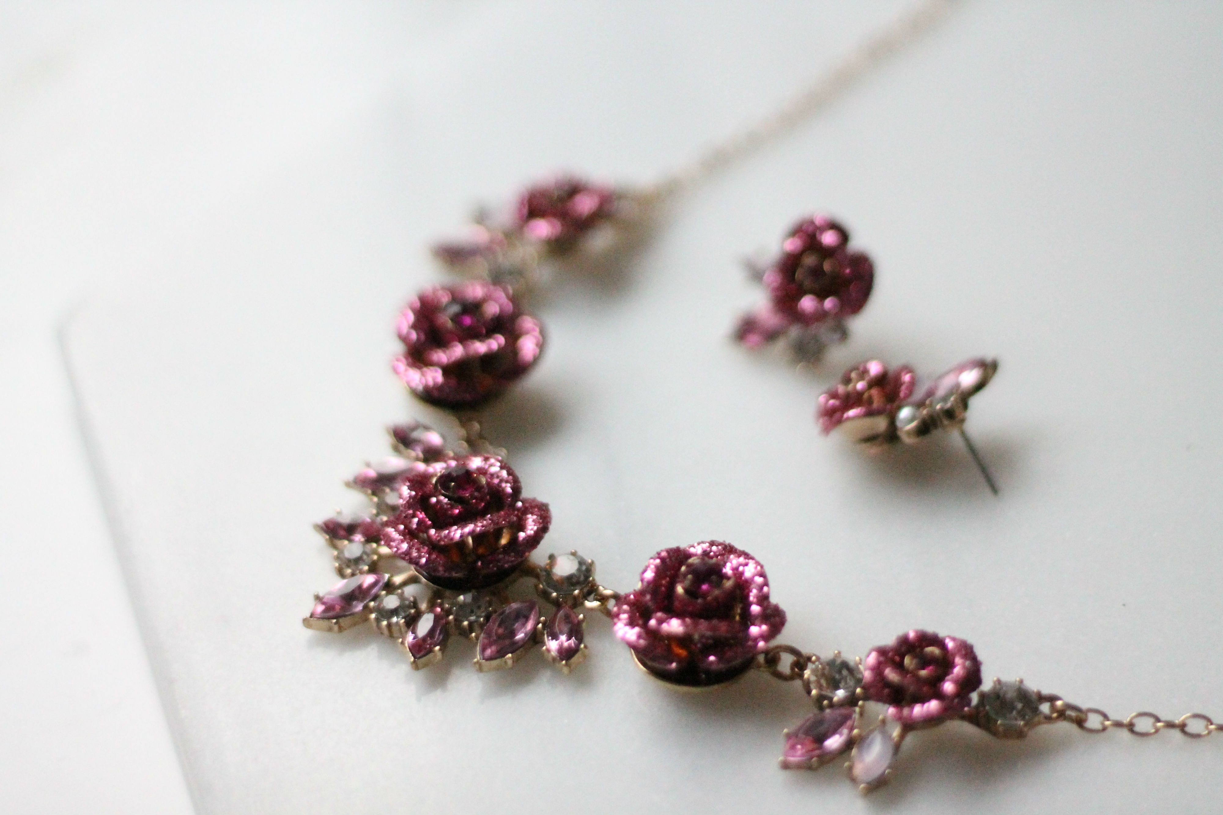Betsey Johnson Jewelry Glitter Rose Stud Earring and Necklace at Best Buy