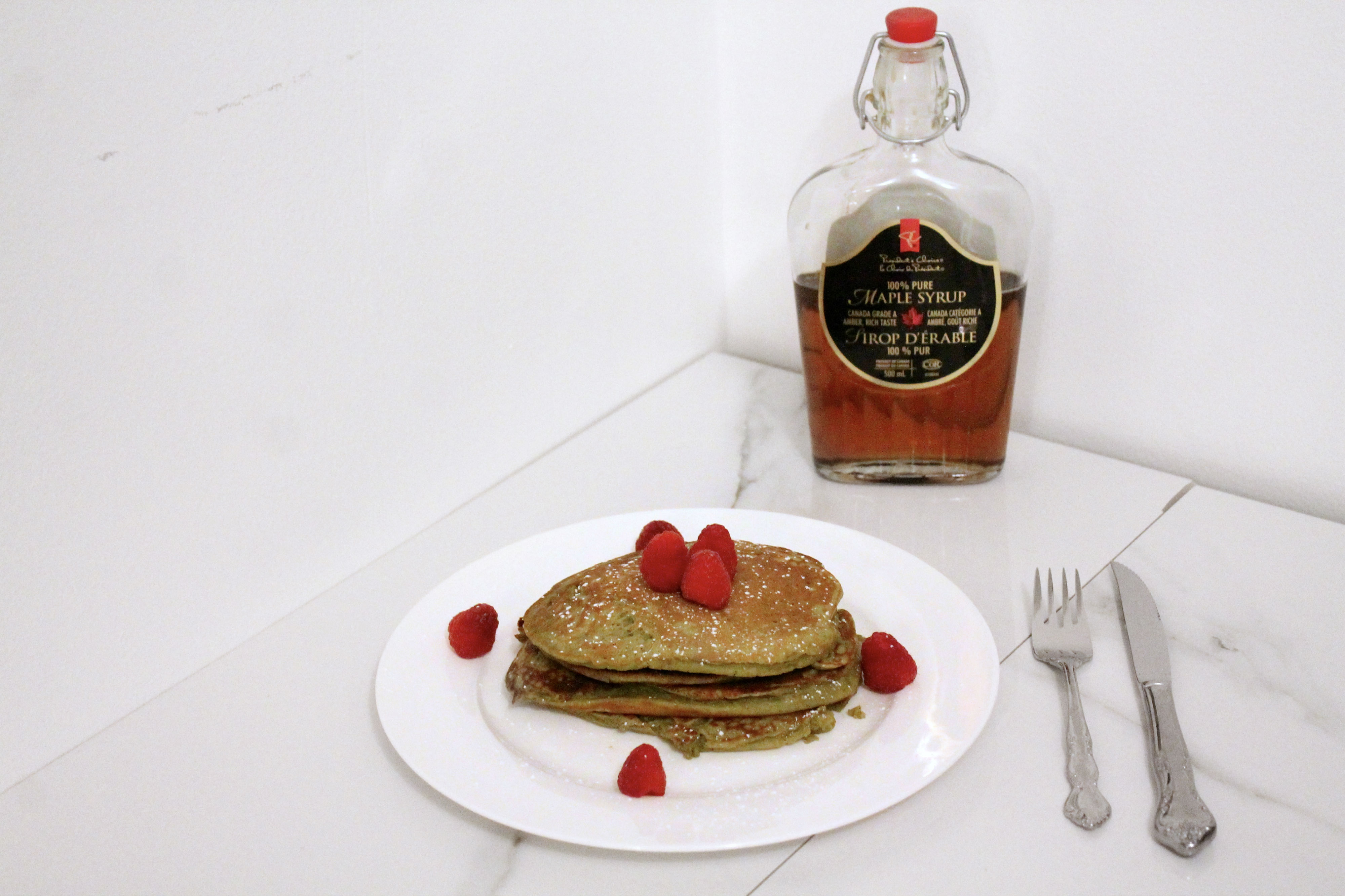 vega one vanilla chai protein pancakes maple syrup breakfast