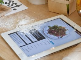 using iPad in kitchen