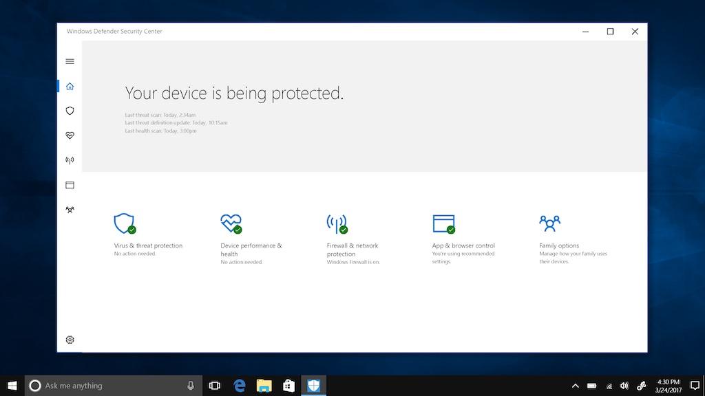 Windows 10 Creators update security