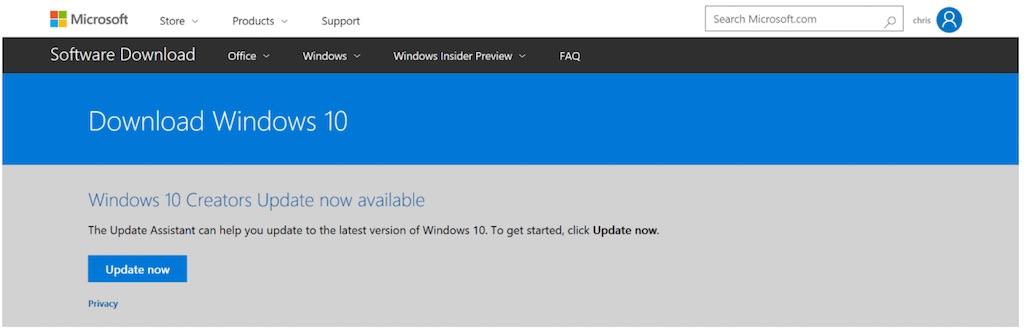 Windows 10 creators update manual install