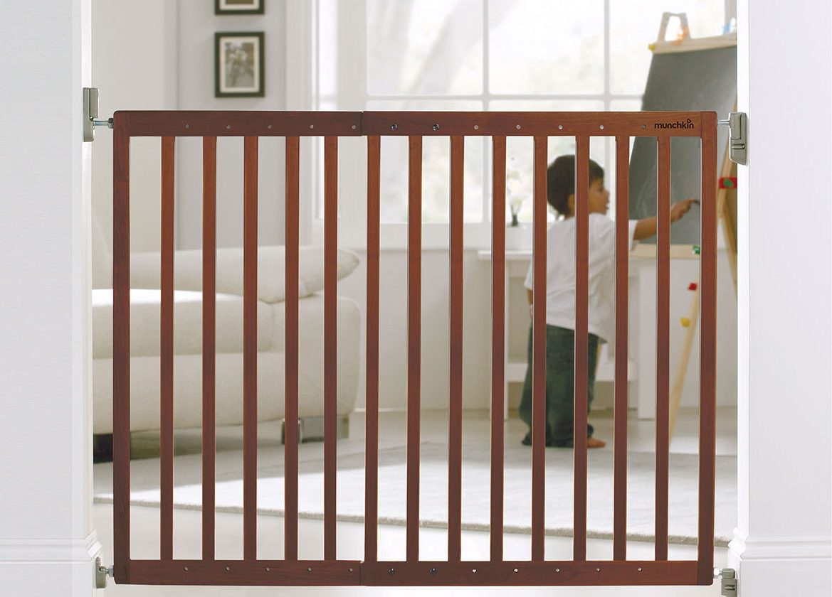 Munchkin Extending Hardware Mounted Wood Safety Gate Installed