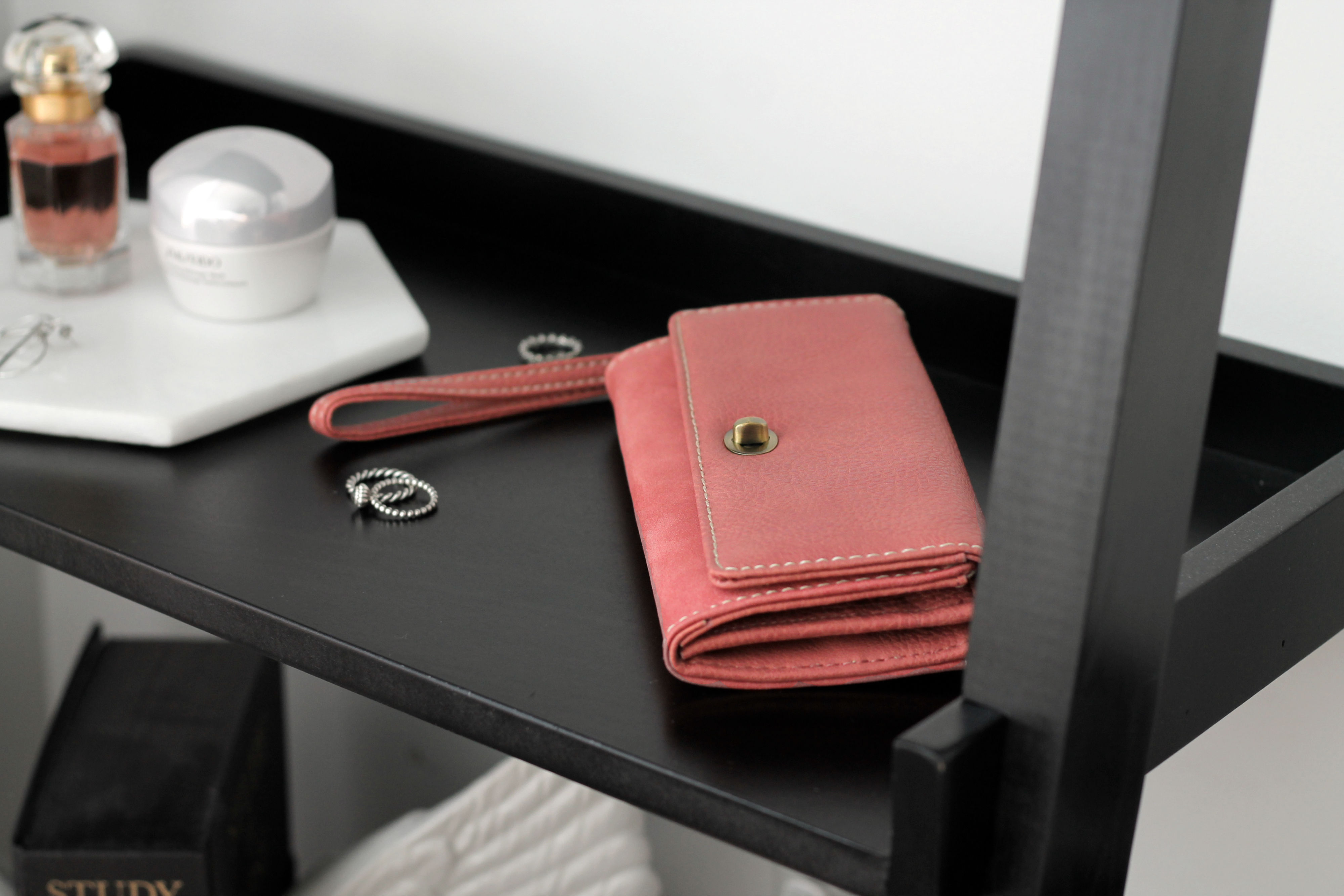 Roots Pink Tech-Friendly Clutch at Best Buy Canada Flat Lay
