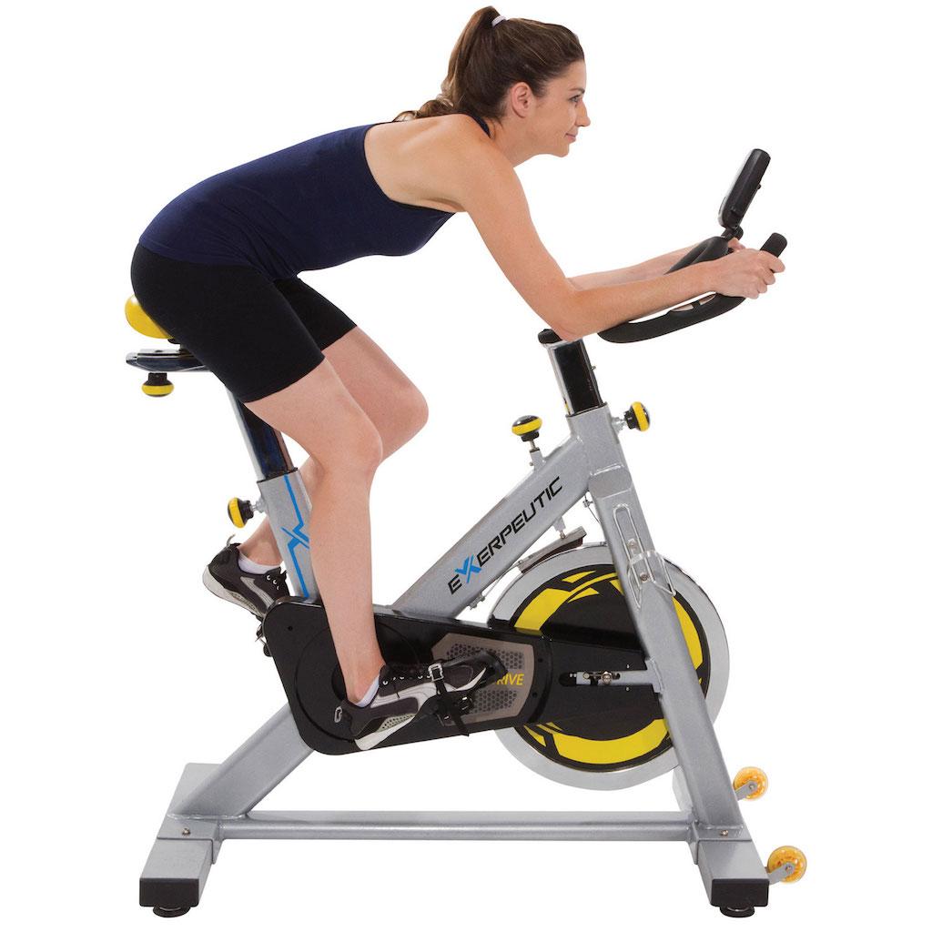 woman on stationary bike