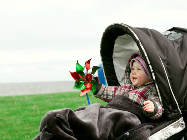 Baby in a stroller holding a pinwheel