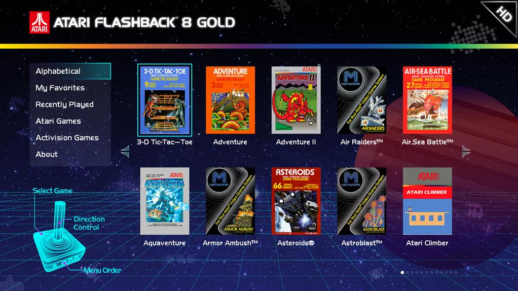 Atari Flashback 8 Gold menu