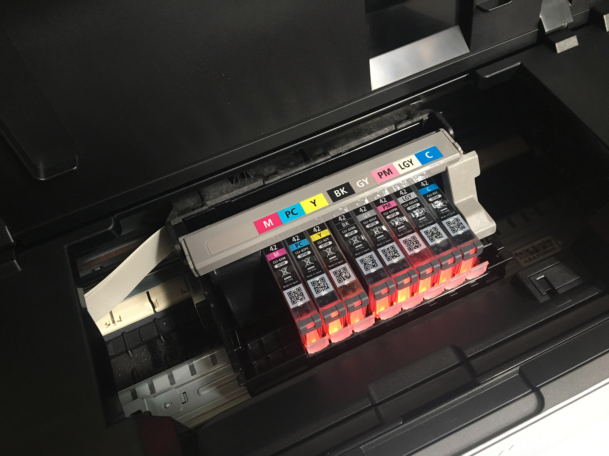 The Canon PIXMA Pro-100 ink tray