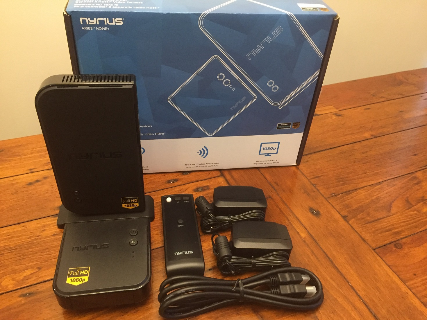 Nyrius ARIES Home HDMI Digital Wireless Transmitter /& Receiver w// 2 HDMI Cables