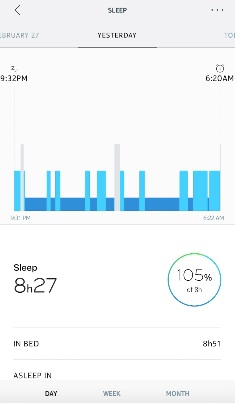 Sleep tracking Nokia Steel HR