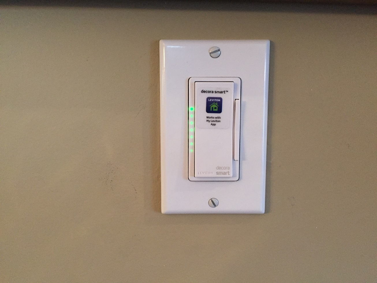 Leviton Wi-Fi Dimmer Switch Installed
