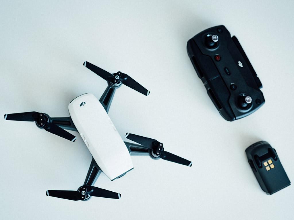 A DJI Mavic drone on a white table