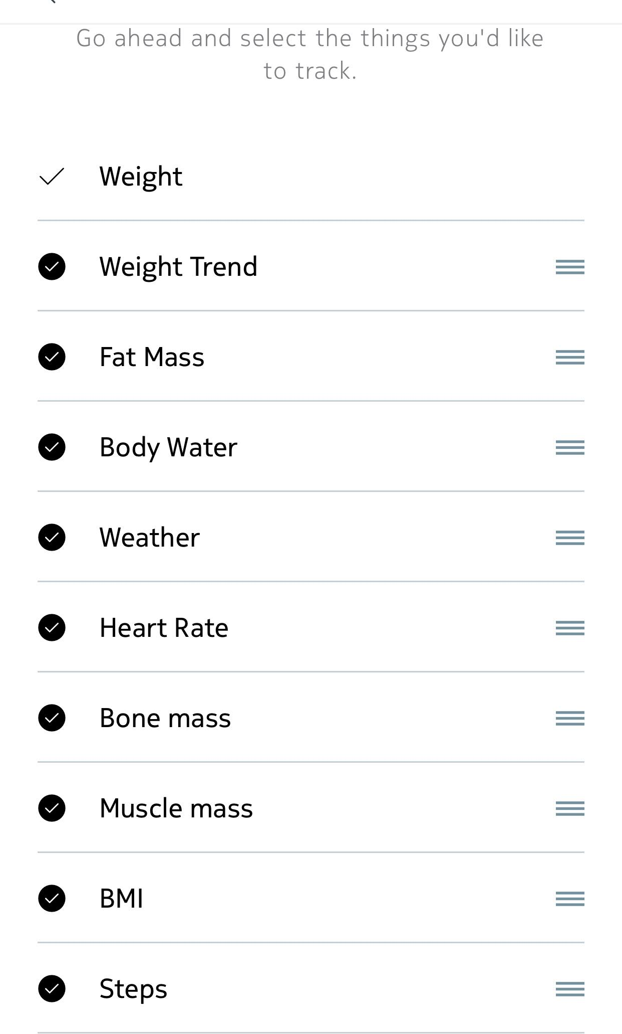 Nokia Health App Scale Settings