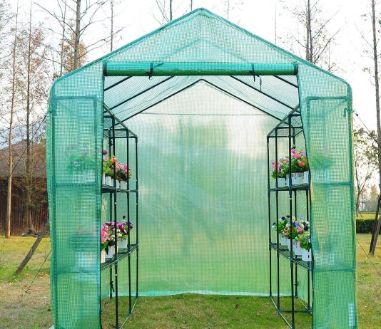 greenhouses and garden shelters - outsunny greenhouse with shelves