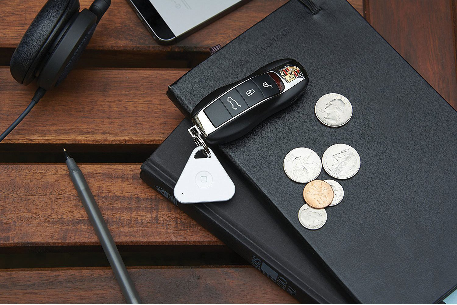 A photo of the iHere key finder attached to a car key