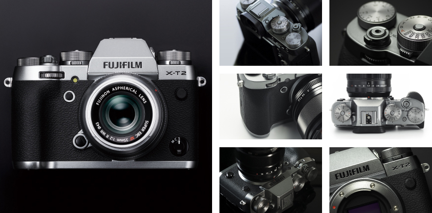 Composite image of various detail shots of the Fujifilm X-T2 Graphite Silver Edition