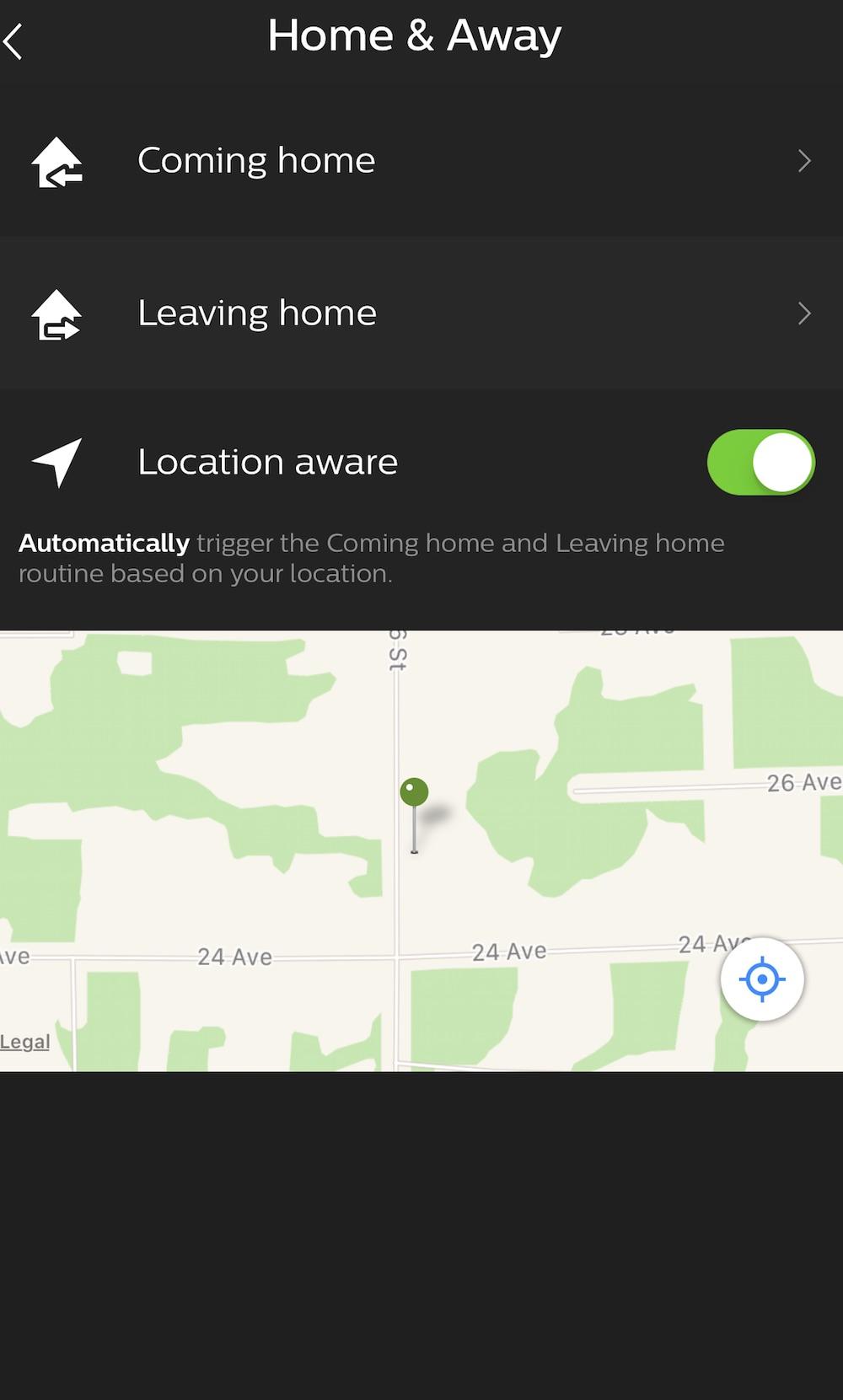 Philips Hue app Home Away