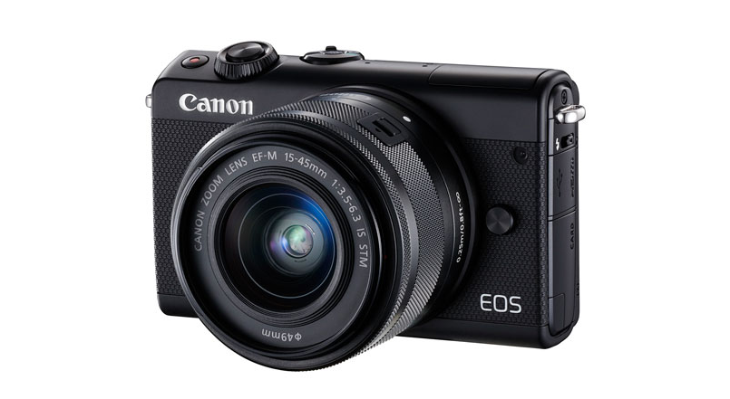 A photo of the Canon EOS M100 Mirrorless Camera with 15-45mm IS STM Lens