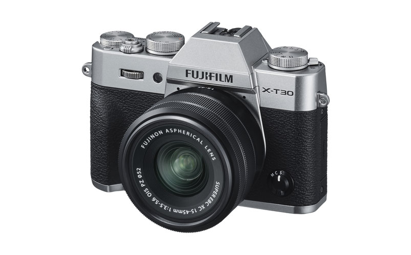 A photo of the Fujifilm X-T30 Mirrorless Camera with 15-45mm OIS PZ Lens
