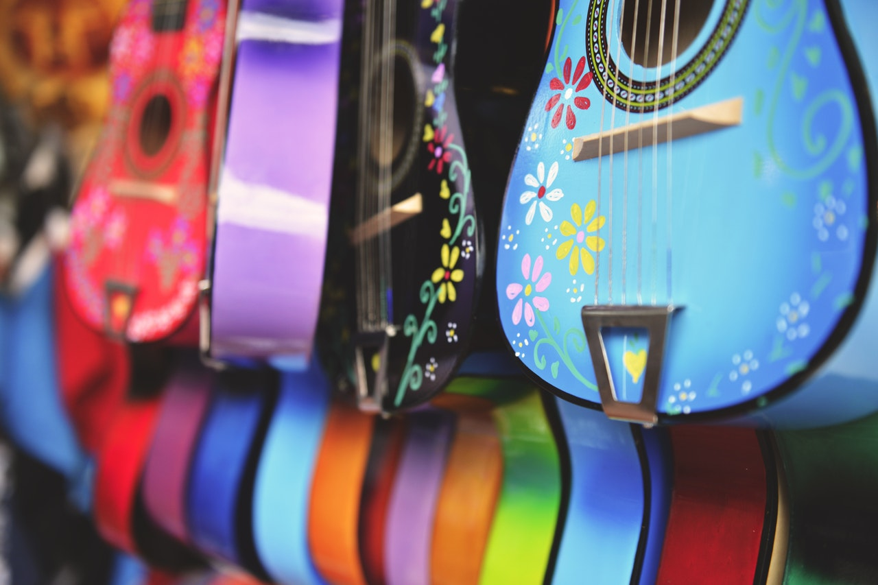 colorful acoustic guitars