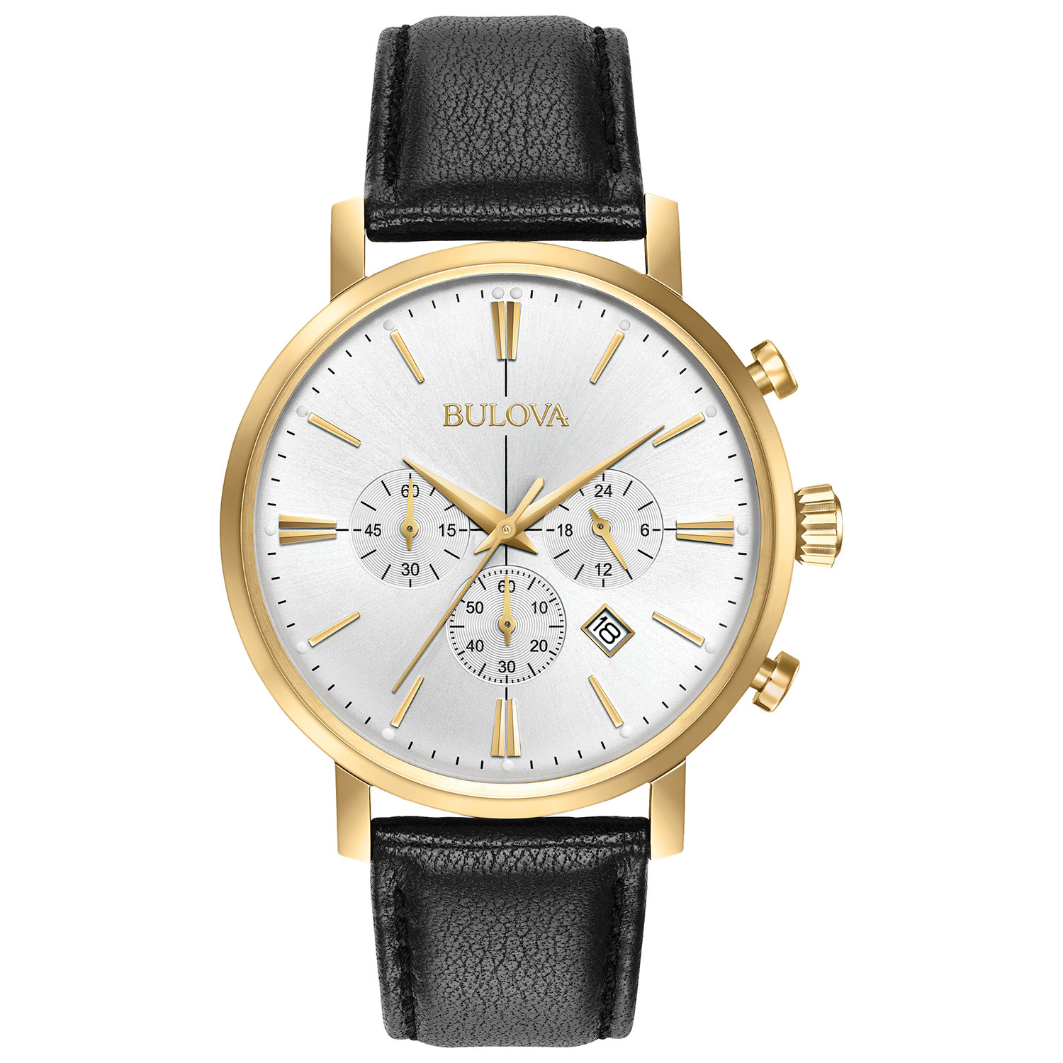men's Bulova watch with leather strap