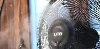 UFO stand fan with mist ionizer