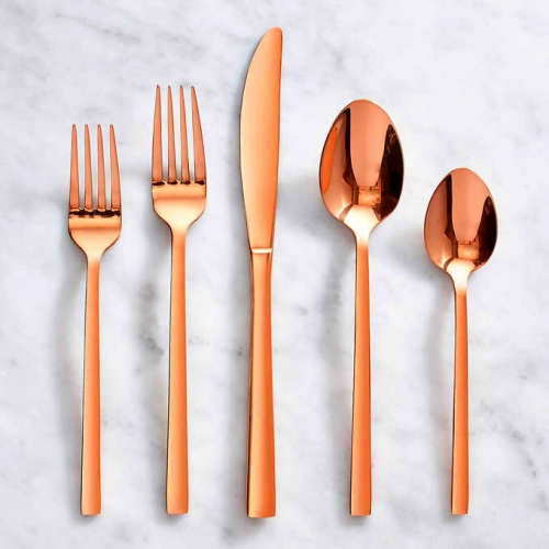 Copper finish cutlery set