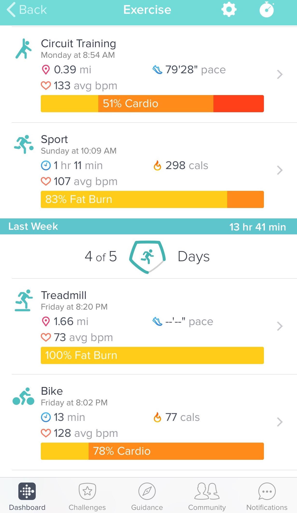 workout fitbit charge 3