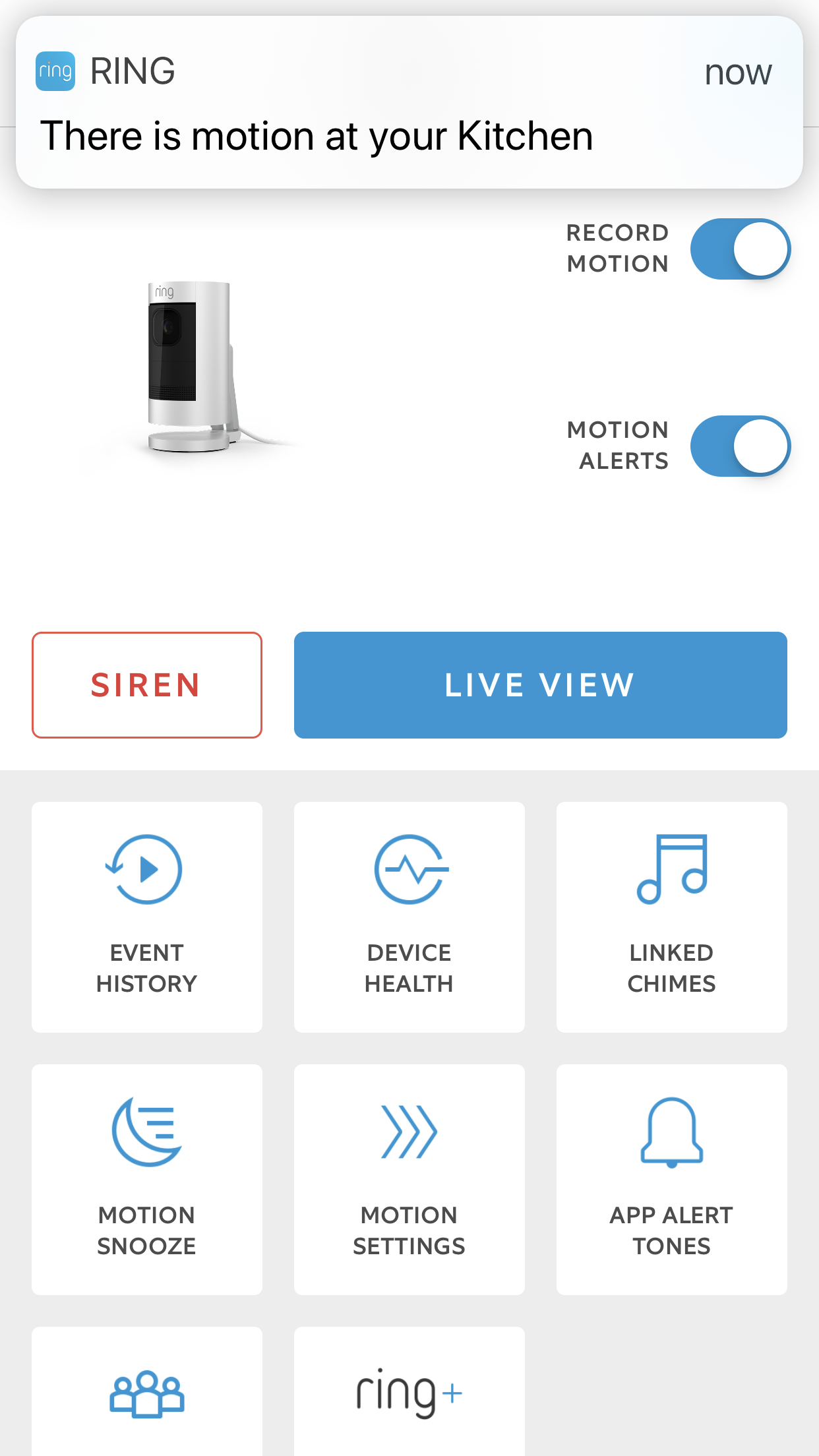 Motion notification Ring stick up cam