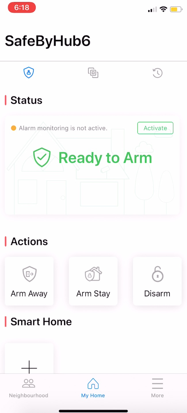 Safe by HUB ready to arm