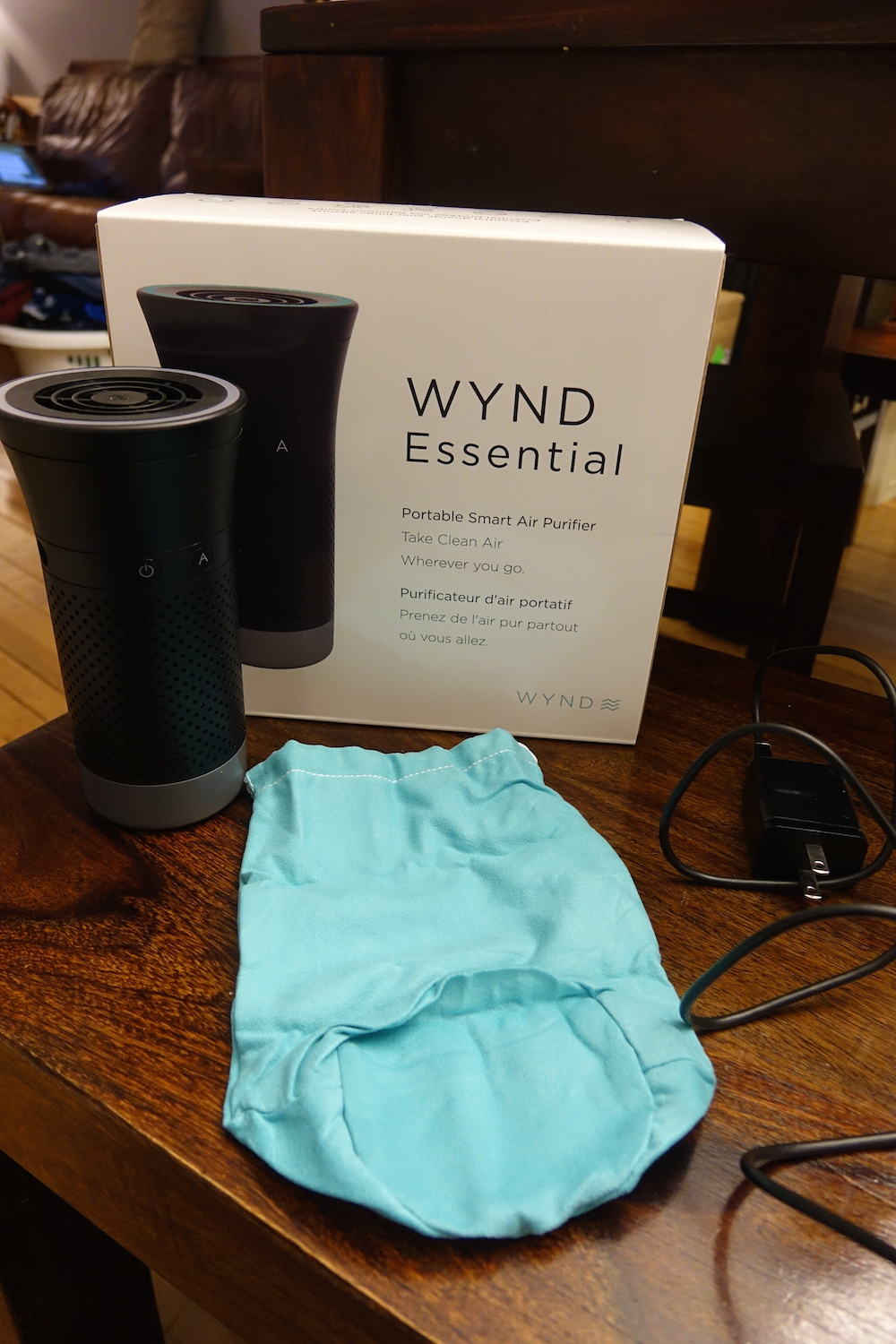 wind essential personal air purifier review - wynd essential smart air purifier in box
