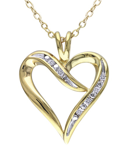 0.048ctw Diamond Heart Pendant Necklace in Yellow Plated Silver