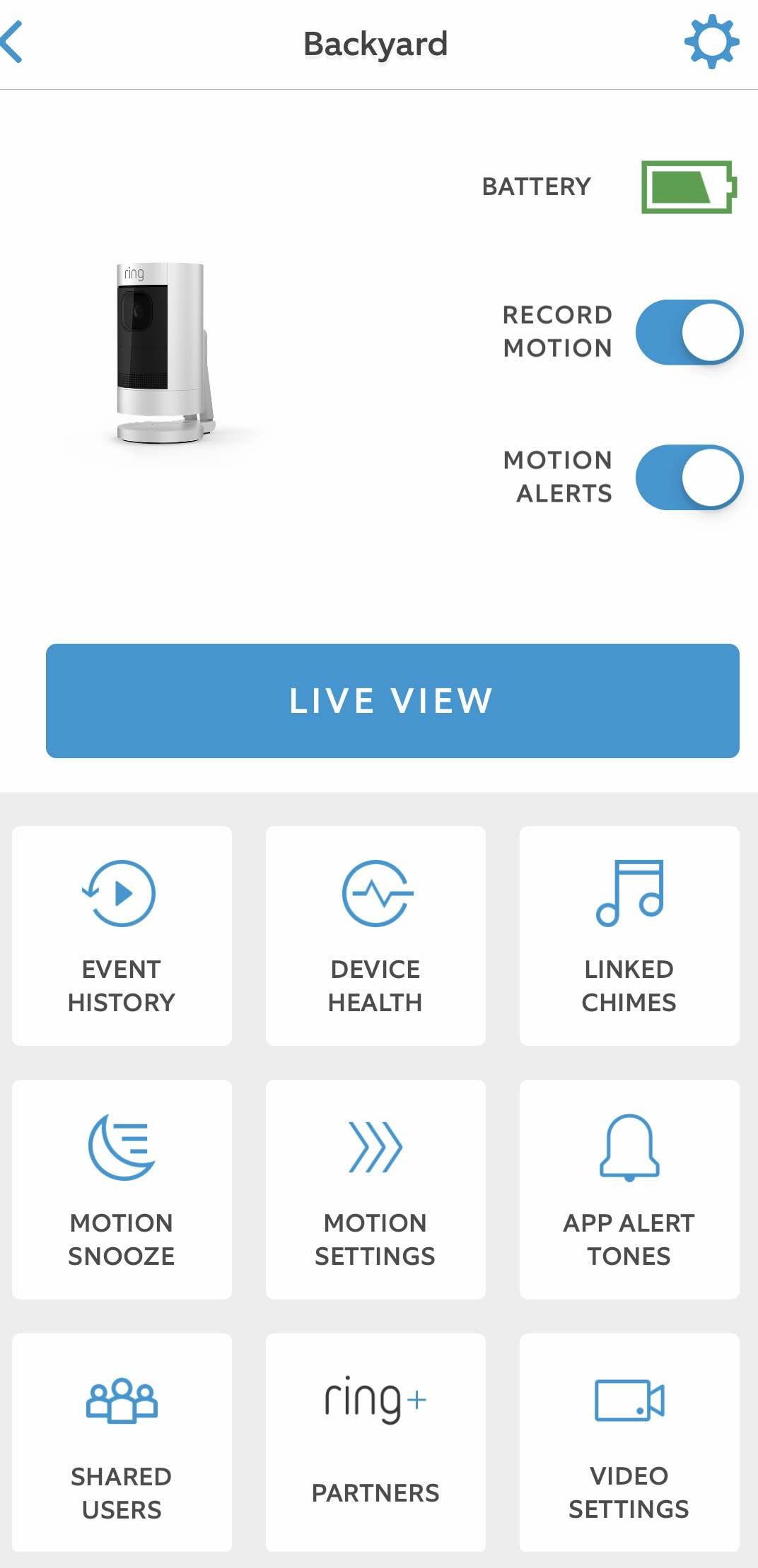 Ring Stick Up CAm app
