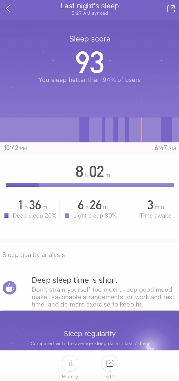 Amazefit Bip Sleep tracking