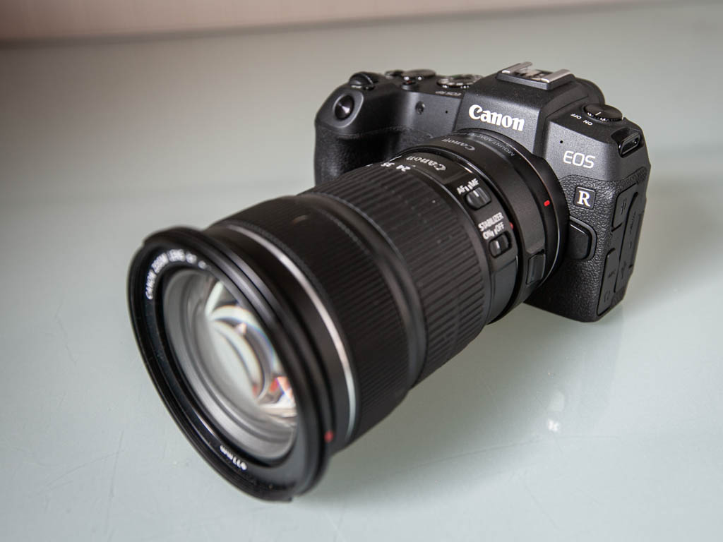 A photo of the Canon EOS RP sitting on a table
