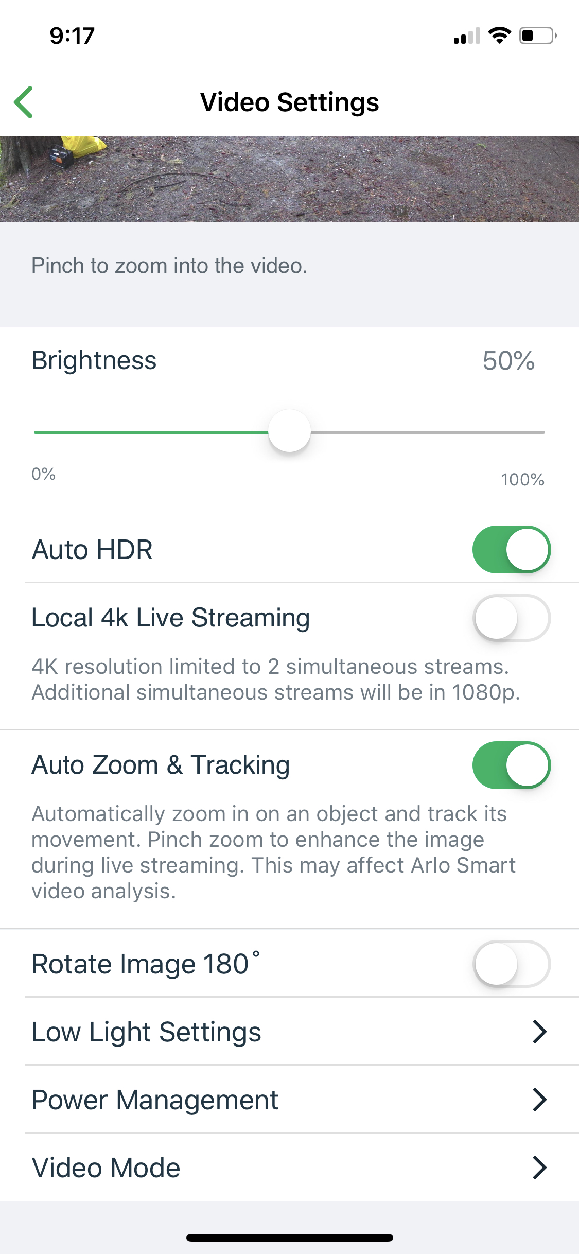 Arlo Ultra video options