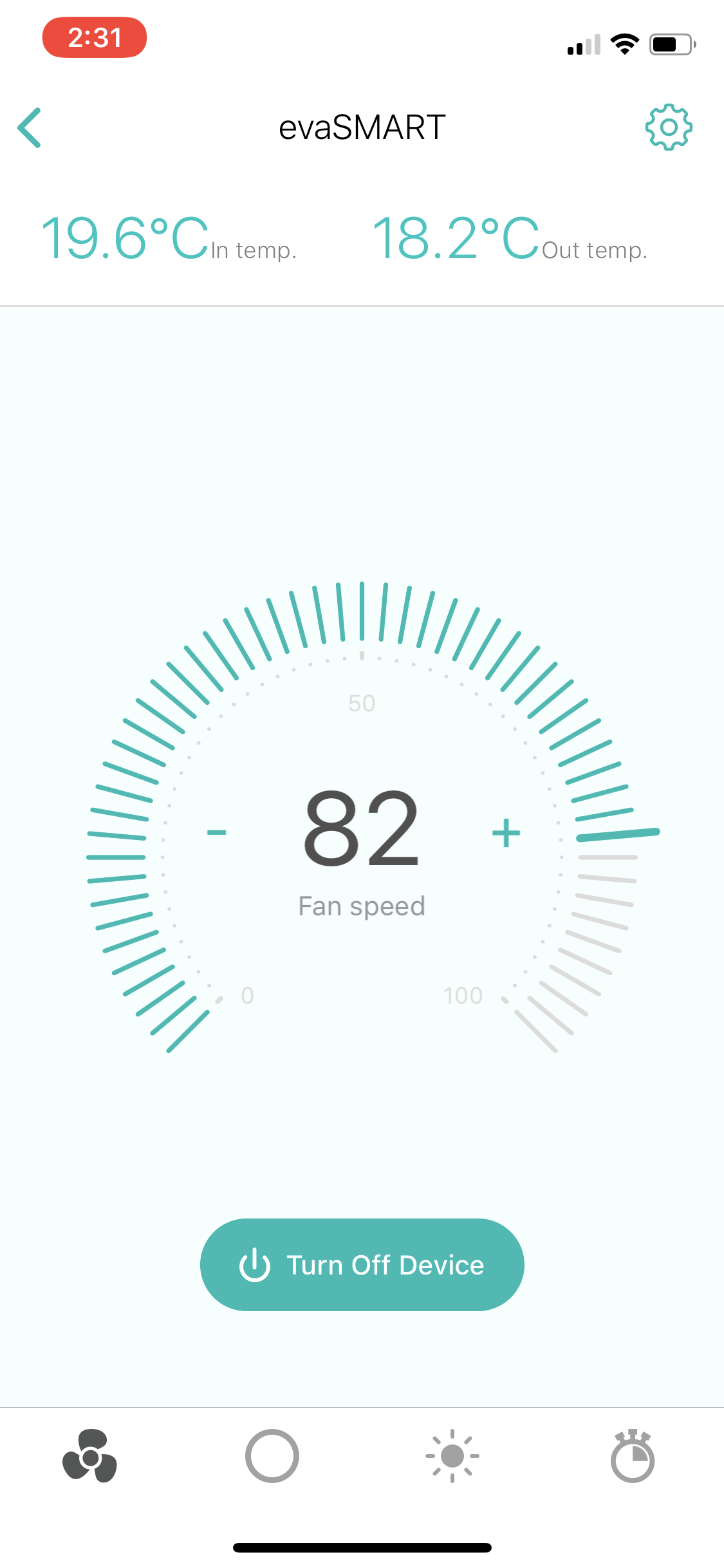 evaSMART app fan speed