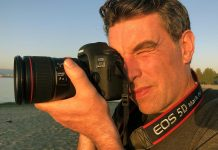 Photographer Justin Morrison takes a photo with the Canon 5D Mark IV