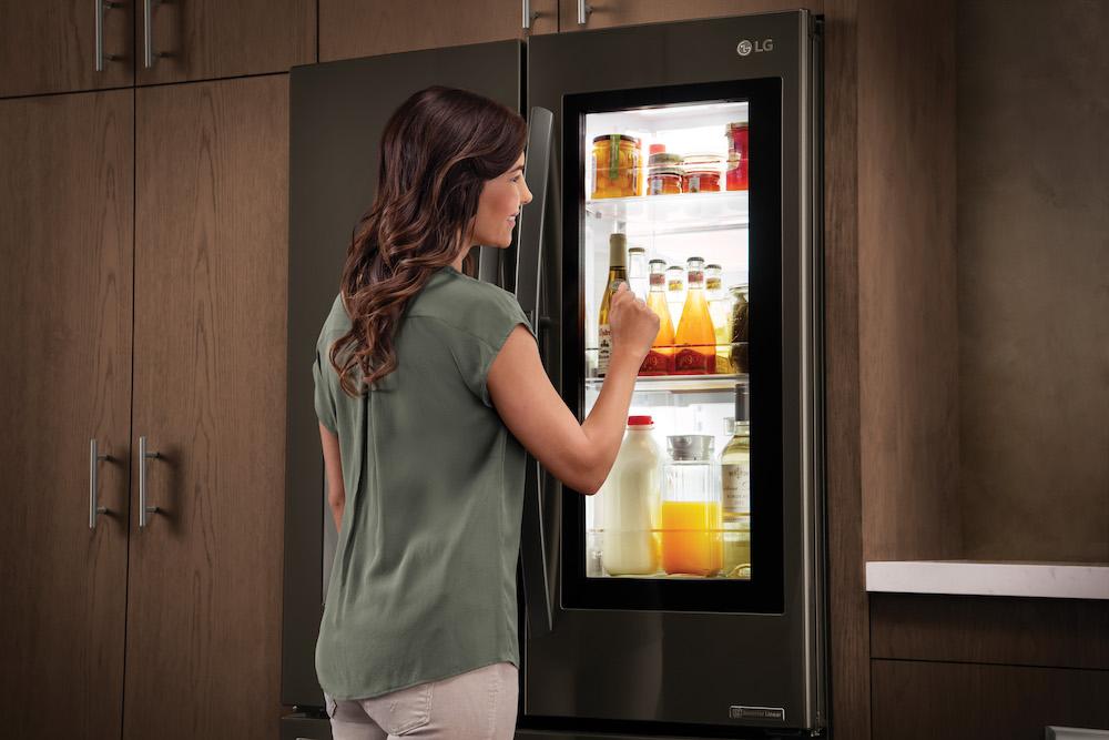 Woman with fridge
