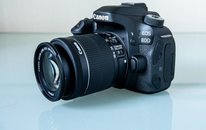 A photo of a Canon EOS 80D on a table