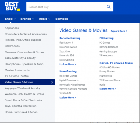 The BestBuy.ca homepage showing the product menu opened to Movies, TV, and Video Games.