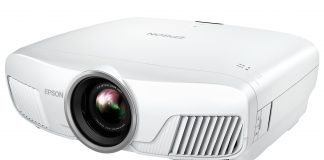 The Epson 4010 home theatre projector on a white background. The lens points to the bottom left corner of the picture.
