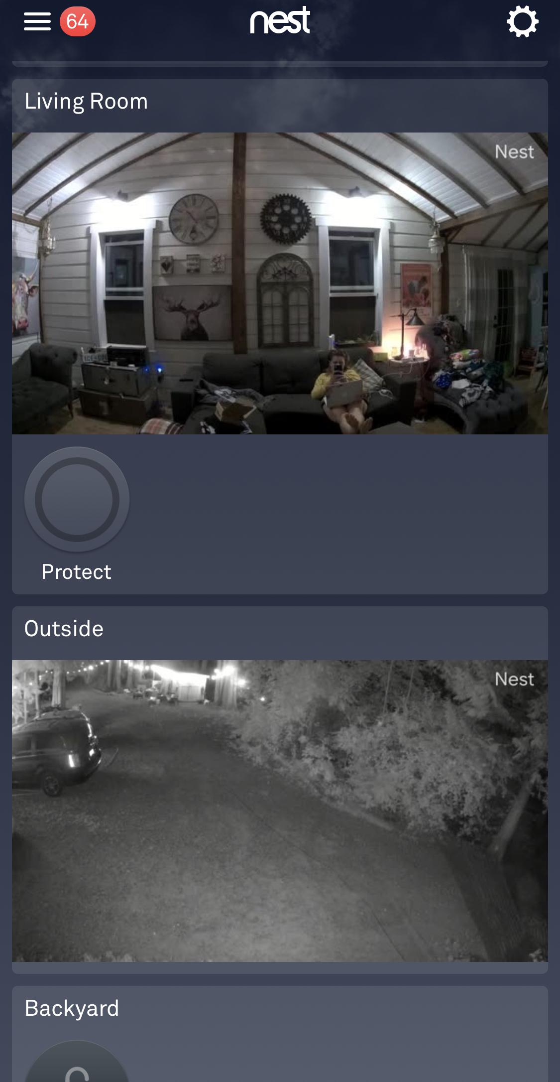 Nest app menu