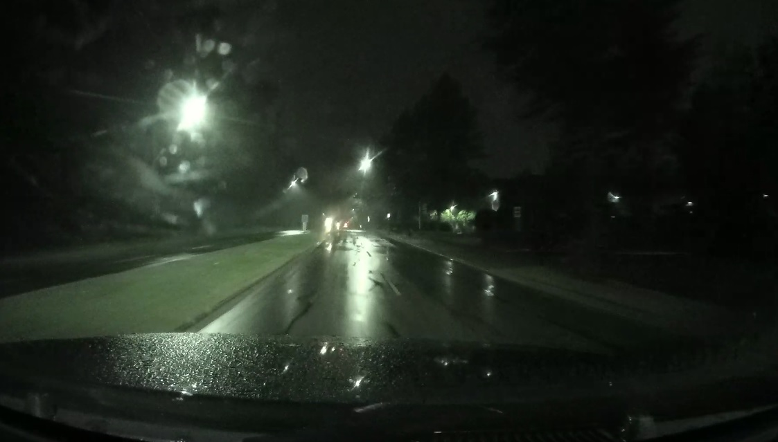 Thinkware X700 Dashcam Front Camera on a Rainy Night